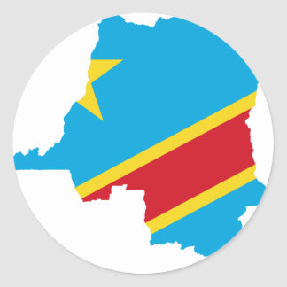 Congo Flag map  CD Classic Round Sticker