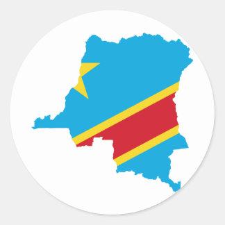 Congo Flag map  CD Classic Round Sticker