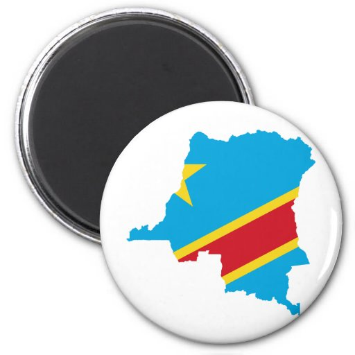 Congo Flag map  CD Magnet