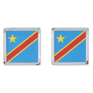 Congo-Kinshasa Flag Cufflinks Silver Finish Cuff Links