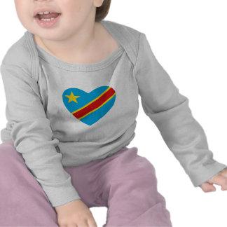 Congo-Kinshasa Flag Heart T-Shirt