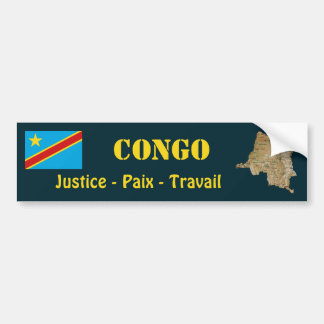 Congo-Kinshasa Flag + Map Bumper Sticker