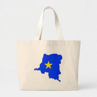 Congo Kinshasa Flag Map full size Tote Bags