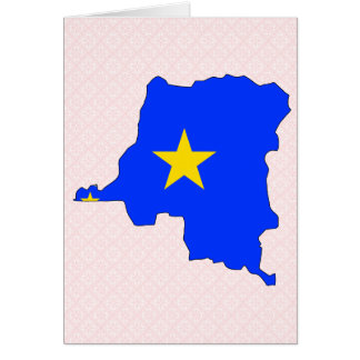 Congo Kinshasa Flag Map full size Greeting Card