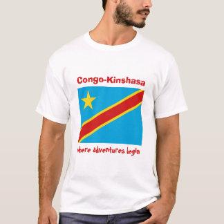 Congo-Kinshasa Flag + Map + Text T-Shirt