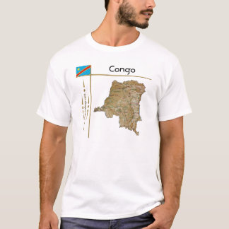 Congo-Kinshasa Map + Flag + Title T-Shirt