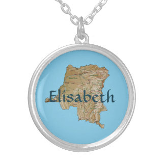 Congo-Kinshasa Map + Name Necklace