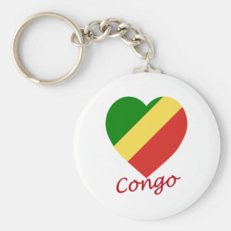 Congo Republic Flag Heart Basic Round Button Key Ring