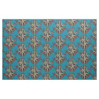 congo tree frog blue fabric