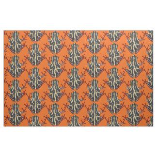 congo tree frog orange fabric