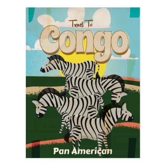 Congo Vintage Travel Poster. Postcard