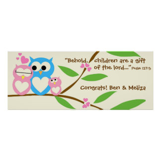 Congrats, Baby Girl Owl Baby Shower Banner Print