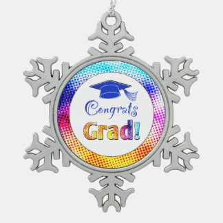 Congrats Grad Colors, Fun Pewter Snowflake Decoration