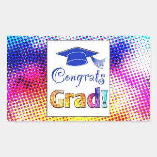 Congrats Grad Colors, Fun Rectangular Sticker