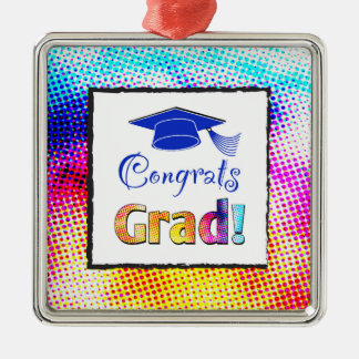 Congrats Grad Colors, Fun Silver-Colored Square Decoration