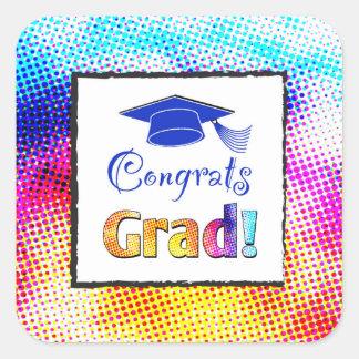 Congrats Grad Colors, Fun Square Sticker