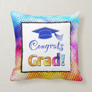 Congrats Grad Colors, Fun Throw Pillow