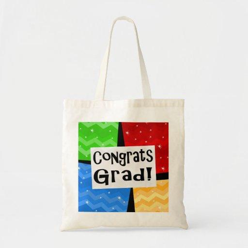 Congrats Grad Festive Multicolor Graduation Party Tote Bags