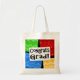 Congrats Grad Festive Multicolor Graduation Party Budget Tote Bag