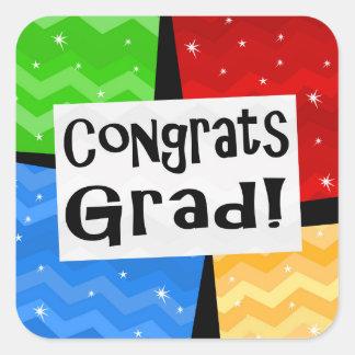 Congrats Grad Festive Multicolor Graduation Party Square Sticker