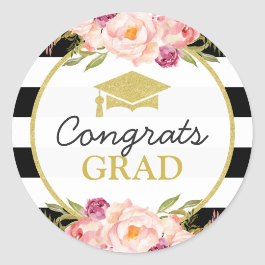 Congrats grad floral stripes glam graduation classic round sticker