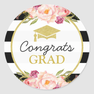 Congrats Grad | Floral Stripes Glam Graduation Round Sticker