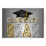 Congrats Grad Graduation - Black Silver Gold Note Card