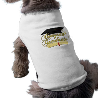 Congrats Graduate Diploma and Graduation hat dog Sleeveless Dog Shirt