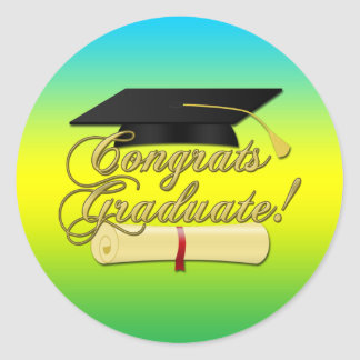 Congrats Graduate Diploma Graduation hat | Colors Classic Round Sticker