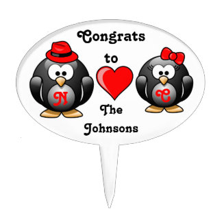 Congrats Penguin Pair Mate for Life Red Heart Cute Cake Topper