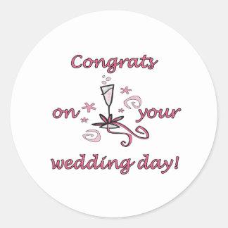 Congrats Wedding Day Classic Round Sticker