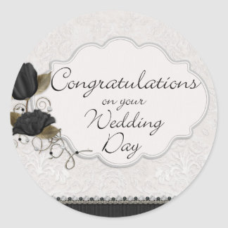 congrats wedding day round sticker