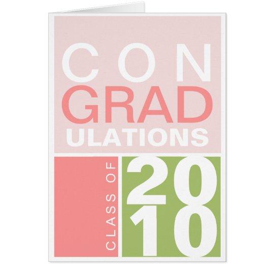 Congratulation class of year green pink modern card