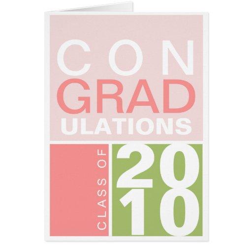Congratulation class of year green pink modern note card
