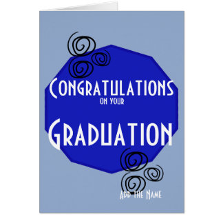 Congratulation on your graduation blue white name greeting card