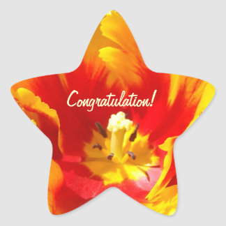 Congratulation! stickers Red Yellow Tulip Flowers