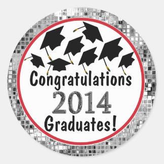 Congratulations 2014 Graduation Flying Caps Stickers