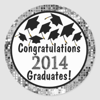 Congratulations 2014 Graduation Flying Caps Round Sticker