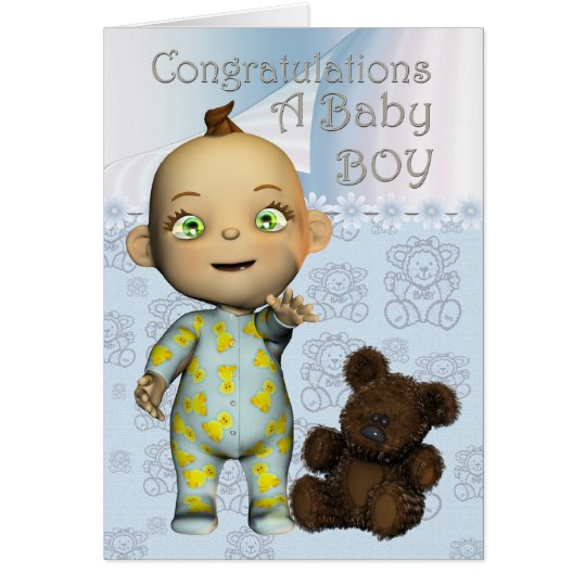Congratulations A Baby Boy Card with cartoon