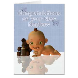 Congratulations A Beautiful Baby boy Aunt and Uncl Greeting Card