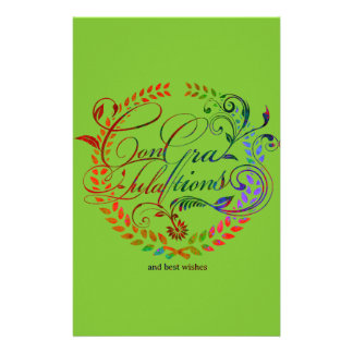 Congratulations and best wishes (color ver.) stationery