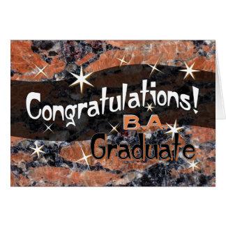 Congratulations B.A. Graduate Orange and Black Card