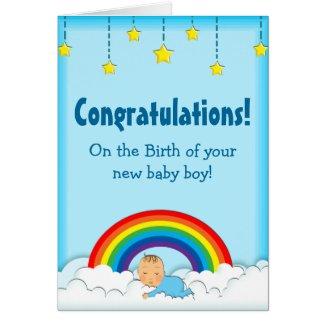 Congratulations Baby Boy rainbow card