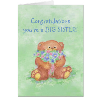 Congratulations BIG SISTER FunTeddy Bear Flowers Card