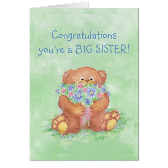 Congratulations BIG SISTER FunTeddy Bear Flowers Card
