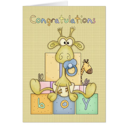 Congratulations Birth Of Baby Boy Card - Cute