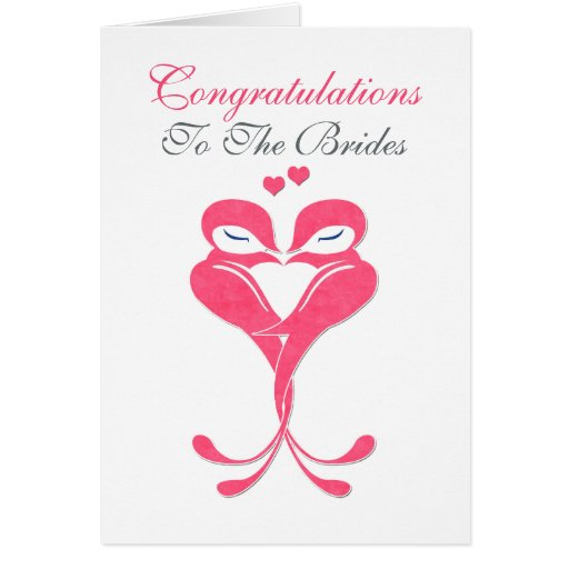 Congratulations Brides Love Birds Lesbian Wedding Greeting Cards