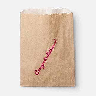 Congratulations Bright Hot Pink Casual Script Favour Bags