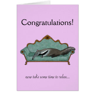 Congratulations card with cute Anteater