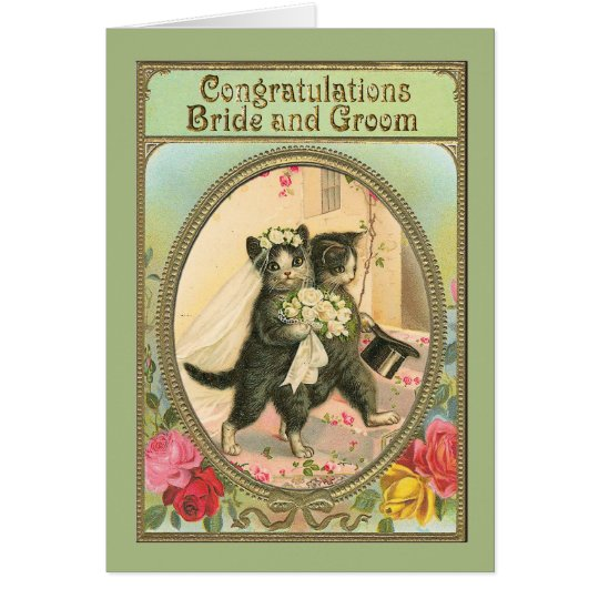 Congratulations Cat Bride and Groom Wedding Day Card